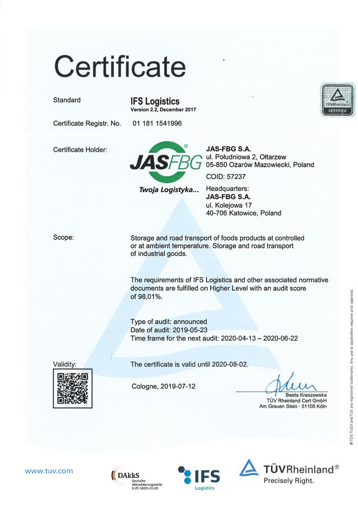 Certyficate IFS Logistics Ołtarzew