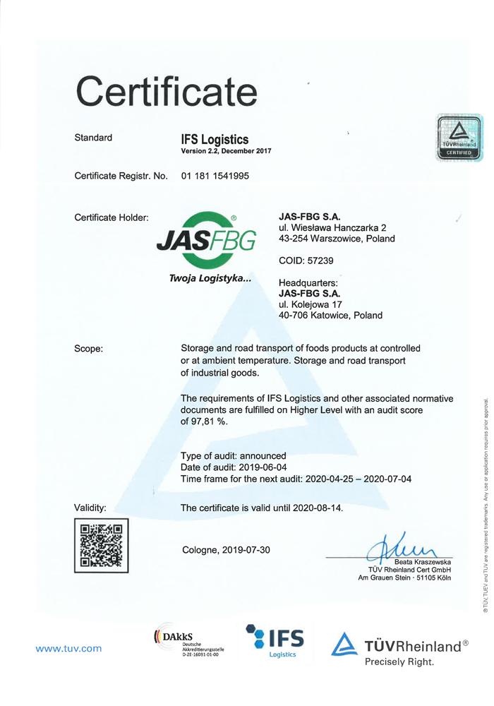 Certificate IFS Logistics Warszowice