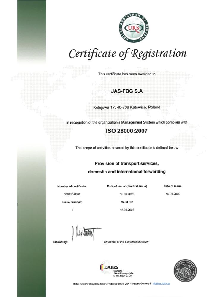 Certyfikat URS ISO 28000 Katowice en
