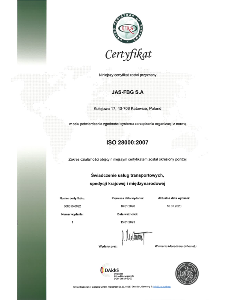 Certyfikat URS ISO 28000 Katowice pl