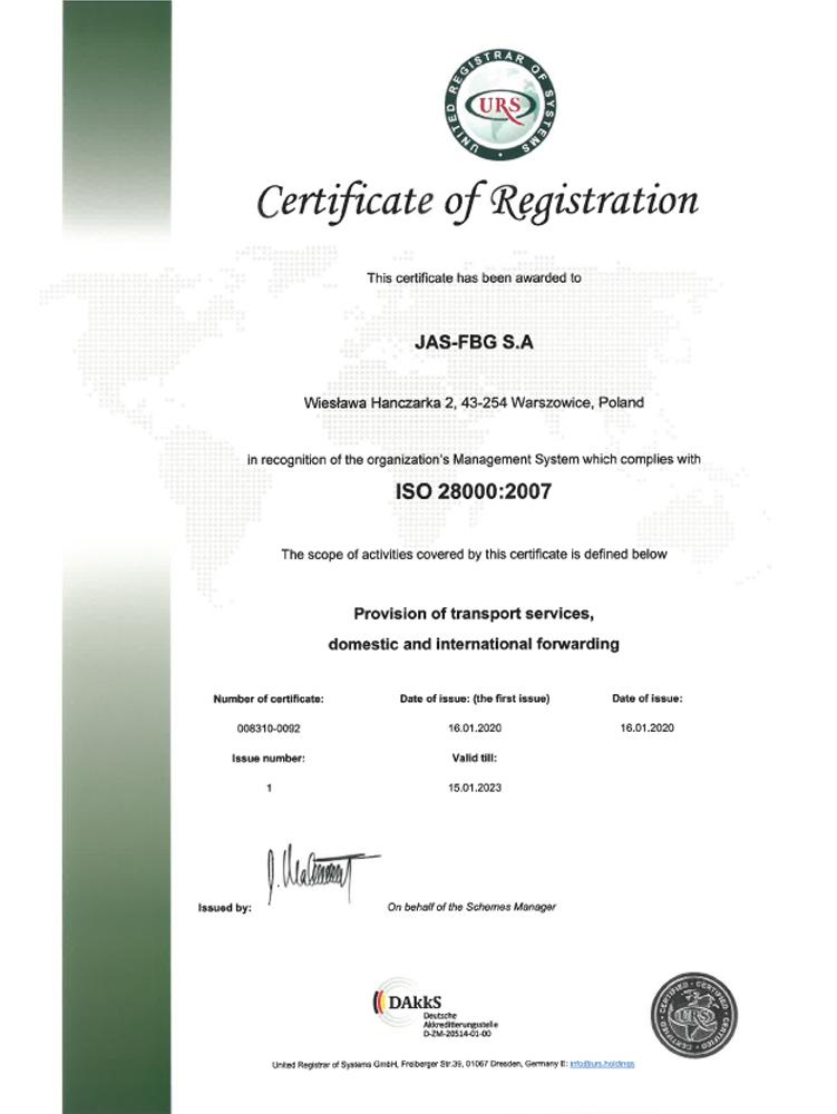 Certyfikat URS ISO 28000 Warszowice en