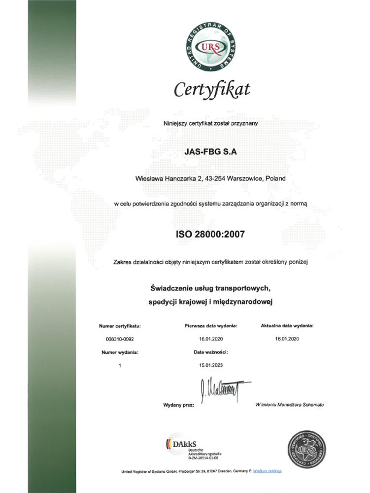 Certyfikat URS ISO 28000 Warszowice pl